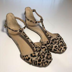 Zara Women's Leopard Print Ankle Strap Flats